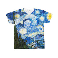 Classic Painting Vincent Van Gogh Starry Night 1889 All Over Print T-Shirt Tee 100% Polyester American Apparel Size XS S M L XL