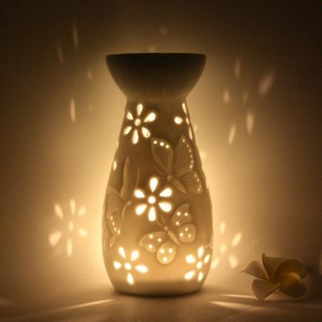 PINNY White Porcelain Aroma Furnace Aromatherapy Wax Aromatherapy Lamp Oil Japanese Style Incense Burner Translucidus Essential