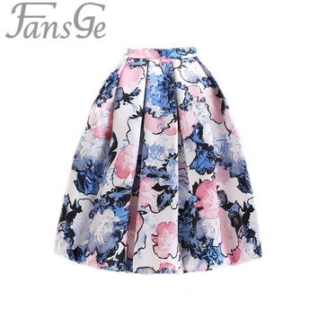 Elegant 50s Princess Retro Fantasy Floral Print High Waist Midi Pleated Tutu Tulle Skirts Circle Plus Size Saia Faldas Femininas
