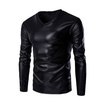 DCCKON3 mens metallic shiny wet look long sleeve t shirt top slim fit v neck blouse 1