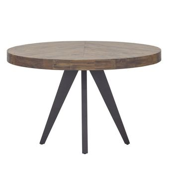 Parq Parquet Patterned Wood Round Dining Table 48""