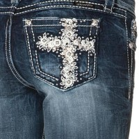 Miss Me Med 146 Floral Cross Bootcut Jeans