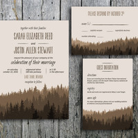 Rustic Wedding Invitation in Brown Mountains - Printable Wedding Invitation, RSVP and Guest Information Card