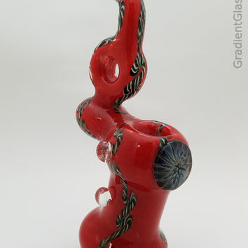 Red Glass Bubbler With Dragon Eye