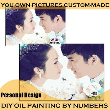 Make Your Own Oil Painting by Numbers Personality Private Design Digital Painting Personal Picture Photos Custom Family /Wedding