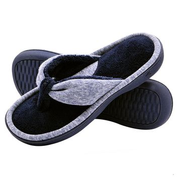 Wishcotton Women's Adjustable Memory Foam House Spa Thong Slippers
