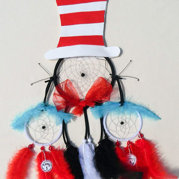Dr. Suess The Cat in the Hat inspired dreamcatcher