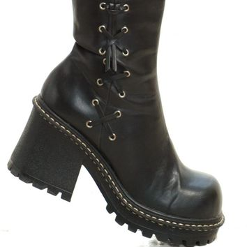 Vintage 90's Faux Lace Up Chunky Boots - US 9