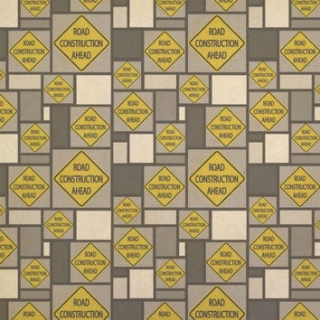 Road Construction Ahead Basic Road Sign Kraft Gift Wrapping Paper