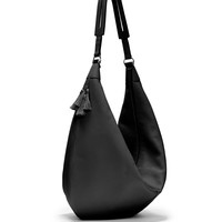 Sling 15 Grained Calfskin Hobo Bag, Black - THE ROW