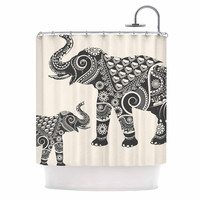 "Famenxt ""Ornate Indian Elephant-Boho"" Black Beige Shower Curtain"