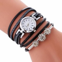 Luxury Fashion Crystal Rhinestone Bracelet Womens Dress Ladies Quartz Watch