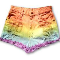 Rainbow Ombre High Waisted Cut Off Shorts