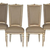 1950s Linen Dining Chairs, Set of 4