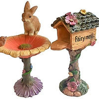 Wonky Hill Miniature Fairy Garden Collection 3 Piece Mail Box Bird Bath And Bunny