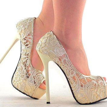 Fashion Sexy Ladies Lace Open Toe Evening Party Super High Heels