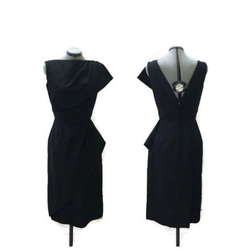 1960s Dress, Vintage Designer Black Cocktail Dress, Wiggle Dress, Estevez, Sz. S