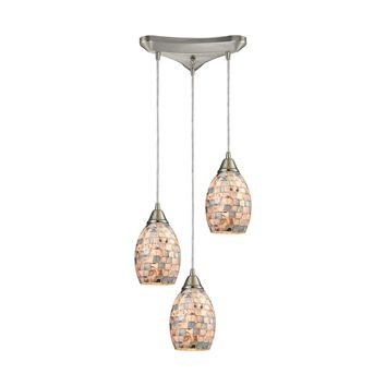 10444/3 Capri 3 Light Pendant In Satin Nickel And Gray Capiz Shell - Free Shipping!