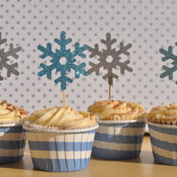 12 Glitter Snowflake Cupcake Toppers for a Birthday Party in Blue, Silver, Pink, or Purple