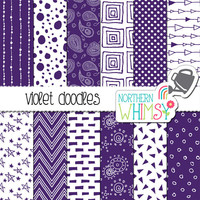 Violet Digital Paper – scrapbook paper with hand drawn seamless doodle patterns - printable paper - instant download - commercial use CU