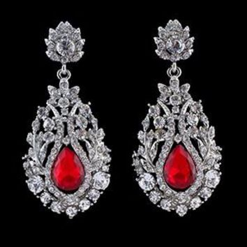 Red Ruby Big Teardrop Crystal Bridal Long Earrings