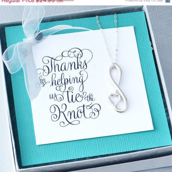 Sale Infinity Heart Pendant  - Infinity Jewelry - Infinity Pendant - Thanks for Helping Us Tie the Knot - Bridemaid Gift - Infinity Necklace