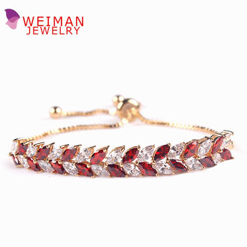 Adjustable Marquise Cut Top Grade Cubic Zirconia CZ Crystal Leaf Tennis Fine Allure Bracelets or Anklets