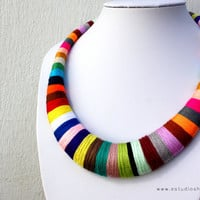Statement necklace - multicolor necklace - colorful necklace - crochet necklace - african necklace