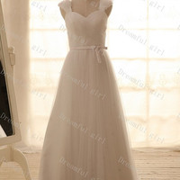 New coming straps floor-length tulle wedding dress with sash