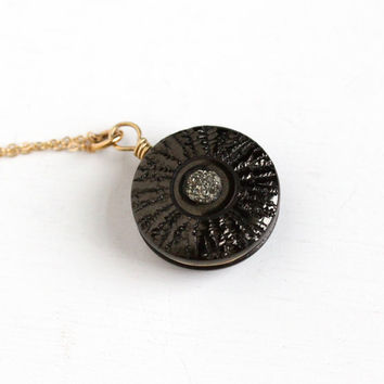 Antique Victorian Black Jet & Pyrite Round Pendant Necklace - Late 1800s Gold Filled Dark Druzy Engraved Rare Fob Mourning Jewelry