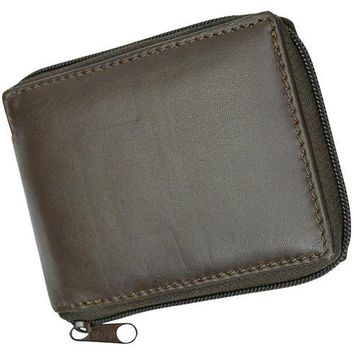 AFONiE RFID-Blocking Flip ID Zipped Soft Leather Bifold Wallet