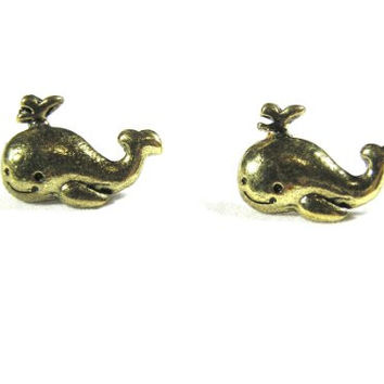 Happy Whale Stud Earrings Cute Vintage Orca EB33 Retro Humpback Gold Tone Mod Posts Fashion Jewelry