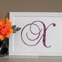 custom monogram, mother's day gift, letter x, blue and pink decoration, gift for mother, gift for grandmother, cut out letter, quilling art