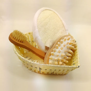 4pcs Soft Exfoliating Back Spa Scrubber Massage Comb + Shower Sponge + Box + Wooden Massager Set