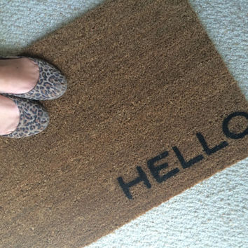 "Welcome Mat Doormat with hello - custom color - 18 x 30"" made of natural coir"