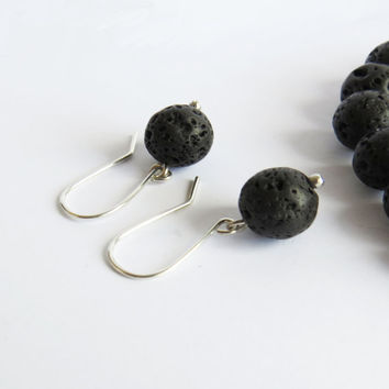 Lava Stone Silver Earrings inspired by iceland  - Rock Jewelry - Everyday Use Jewelry - Simple Handmade Jewelry