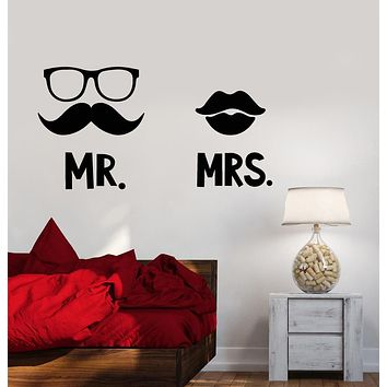 Vinyl Wall Decal Lips Mustache Man Woman Mr. And Mrs Stickers (3034ig)