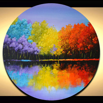 "Colorful abstract landscape painting, bright trees artwork, unique 20"" round circle canvas art"