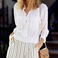 Fashion pure color  lapel  shirt