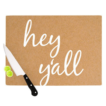 "KESS Original ""Hey Y'all - White"" White Brown Cutting Board"