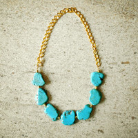 Statement Turquoise Nugget Necklace - Chunky Boho Natural Gemstone Necklace in Turquoise & Gold