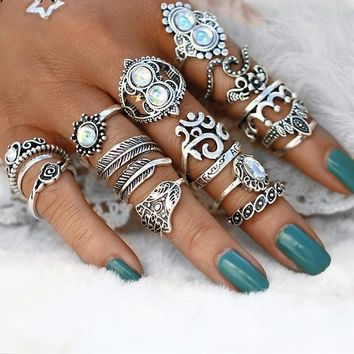 16 PC - Vintage Knuckle Opal Finger Ring Set
