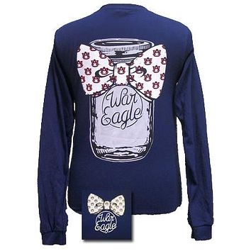 SALE Auburn Tigers War Eagle Mason Jar Bow Bright Long Sleeves T Shirt