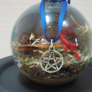 Witch Ball, Witch Protection Ball, Protection Ornament, Wicca Ball, Pagan Ball, Glass Ornament Ball, Handmade Protection Ball