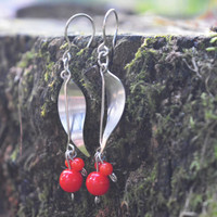 Coral Earrings, Flower Earrings, Stainless Steel Earrings, Wereable Art, Coral Jewelry, Flower Jewelry, Elegant Earrings, Original Earrings