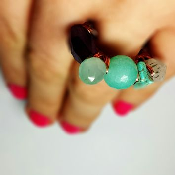Seafoam Cocktail Stacking Ring, Turquoise Wrapped Conversation Piece, Warm Copper, Ready To Ship Size 8.5