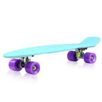 EightBit 27 Inch Complete Skate Board - Retro Skateboard - Surf / Jelly