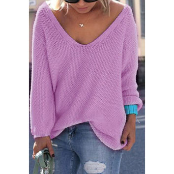 Pullover V-neck Knit Tops Hot Sale Sweater [9052551364]