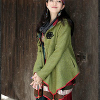 Patched asymmetrical Casual Coat