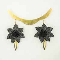EARRINGS // Larea // Black Earrings/ Flower Earrings/ Floral Earrings/ Lace Earrings/ Statement Earrings/ Boho Earrings/ Gold Earrings